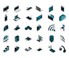 Conjunto de iconos isométricos de dispositivos electrónicos y digitales