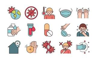Assorted viral infection prevention line and fill pictogram icons