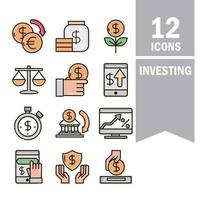 Economy and investment business line and fill color icon collection