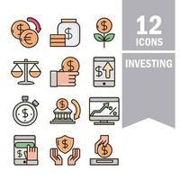 línea de negocio de economía e inversión y colección de iconos de color de relleno