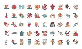 Viral infection prevention line and fill pictogram icon set