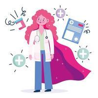 Doctor como un superhéroe con iconos médicos y estetoscopio.