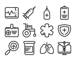 Health care line pictogram icon pack vector