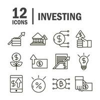 colección de iconos de negocios de economía e inversión vector