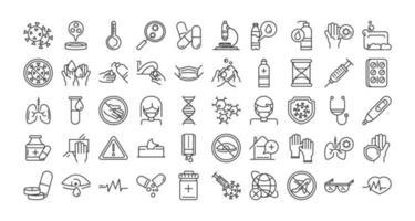 Coronavirus prevention pictogram line icon collection vector