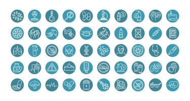 colección de iconos de línea de bloque de prevención de coronavirus vector