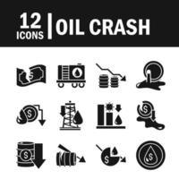 Oil crash and economic crisis icon set