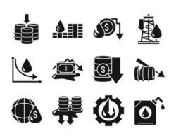 Oil crash and economic crisis icon pack