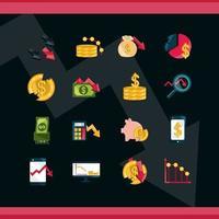 mercado de valores y crisis económica conjunto de iconos sobre fondo oscuro