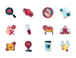 Coronavirus and viral infection control icon collection