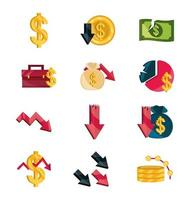 Stock market and economic crisis icon pack vector