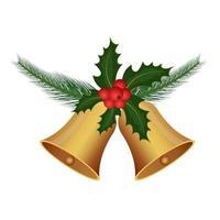 hermosa campana de navidad aislada