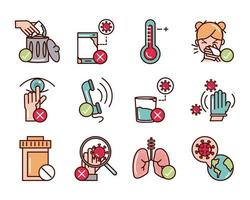 Covid-19 prevention line and fill, colored icon pack