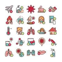Línea de prevención covid-19 y relleno, conjunto de iconos de colores vector