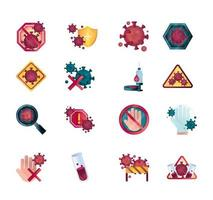 Coronavirus and viral infection control icon set
