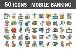 Banca móvil y línea de pago en línea y colección de iconos de relleno.