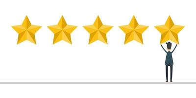 Businessman in suit give a 5 stars review