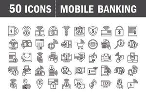 Mobile banking and e-commerce pictogram icon set vector