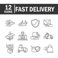 Express delivery and logistics line pictogram icon collection vector