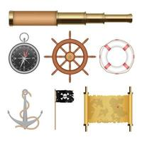 Sea pirate objects set isolated