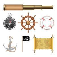 conjunto de objetos piratas de mar aislado