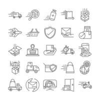 Conjunto de iconos de pictograma de línea de entrega urgente y logística