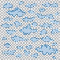 Set of cartoons clouds isolated vector
