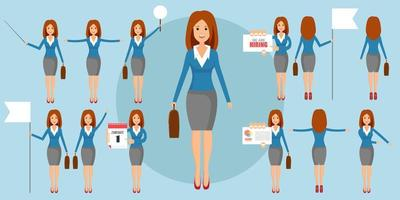 Set of businesswomen in some positions