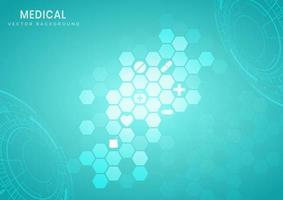 Hexagon technological structure turquoise pattern background vector