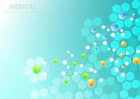 fundo de padrão de estrutura de hexágono molecular