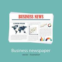 Business newspaper on green background vector