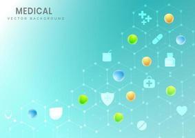 hexágono de fundo de padrão médico com ícones de ciência