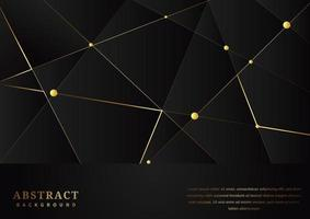 Abstract triangles pattern with gold lines on black background vector