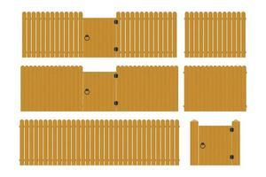 Wooden fence set  vector