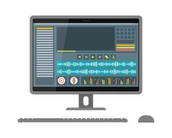 Interface of sound and video editor on screen vector