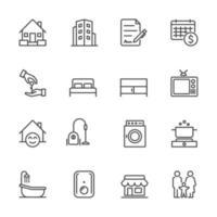 colección de iconos de casa y propiedad de alquiler vector