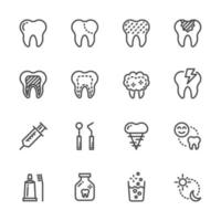 conjunto de iconos de pictograma de cuidado dental vector