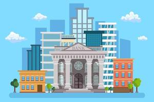 Bank building on the urban landscape with trees vector