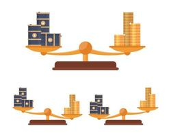 Balance scale with gold coins and oil barrels vector