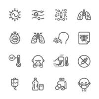 jeu d'icônes de pictogramme d'infection virale respiratoire vecteur