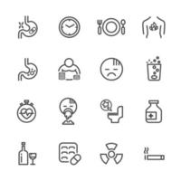 Causes and symptoms of peptic ulcer disease icon set