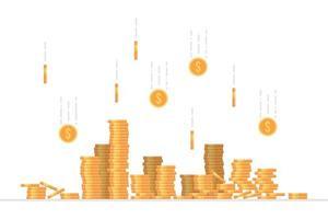 moedas de dólar caindo