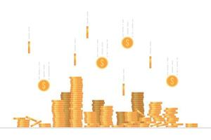 Falling dollar coins vector