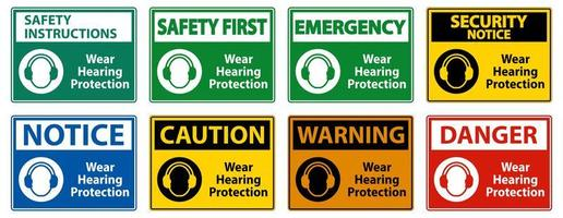 Wear hearing protection signs  vector
