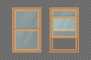 Wooden windows set isolated vector