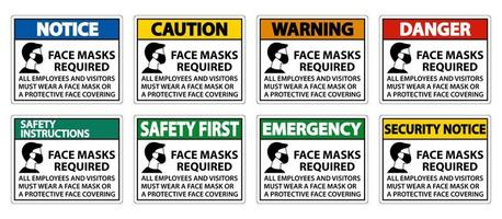 Face Masks Required Sign  vector