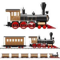 Locomotora de vapor antigua y vagones aislados