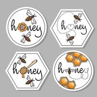 Honey labels icon collection vector
