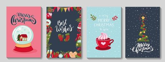 Set of Merry Christmas Greeting Cards vector