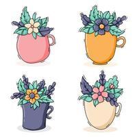 coleção de copos com flores